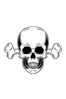 Schädel mit knochen-vektor-illustration