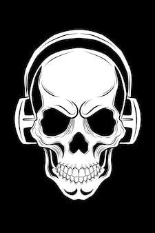 Schädel mit kopfhörer-vektor-illustration