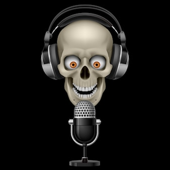 Schädel mit kopfhörern mit mikrofon
