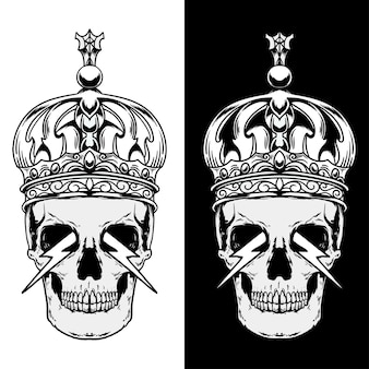 Schädel mit kronenillustration in schwarzweiss
