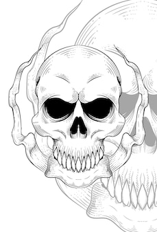 Schädel mit langer stoffvektorillustration