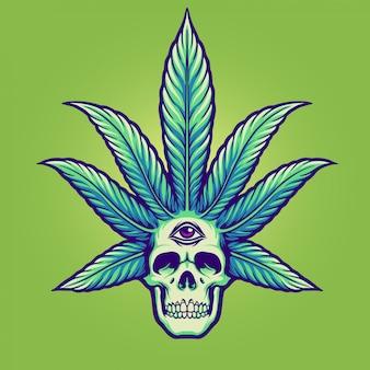 Schädel mit marihuana-haaren