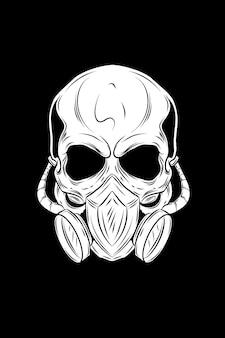 Schädel mit maskenvektorillustration