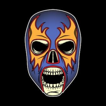 Schädel mit mexikanischer luchador-maske