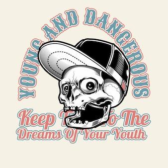 Schädel mit mütze, jung und gefährlich.