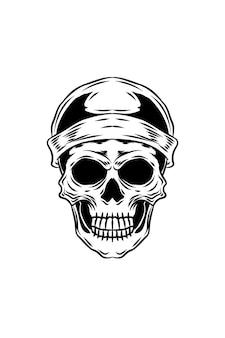 Schädel mit mützen-hut-vektor-illustration