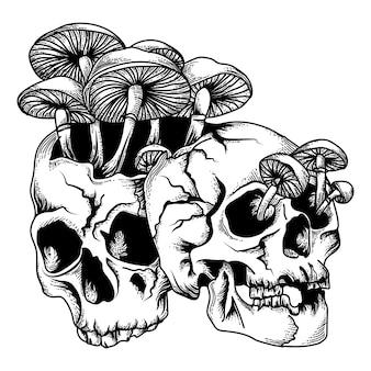 Schädel mit pilz-schwarzweiss-illustration