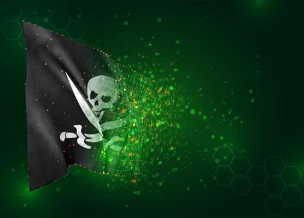 Schädel mit piratenknochen 3d-flagge auf grünem hintergrund mit polygonen