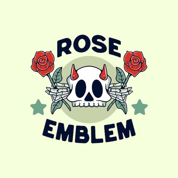 Schädel mit rose flower illustration vintage retro-design für t-shirt