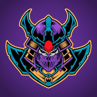 Schädel mit samurai-maske esport-logo-illustration