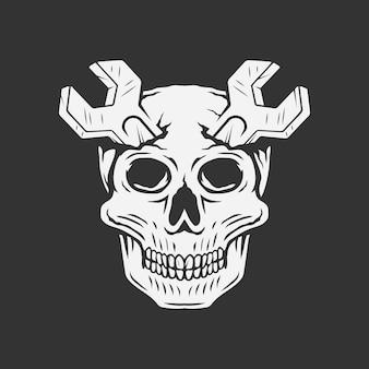 Schädel mit schraubenschlüssel als horn in der kopfvektorillustration