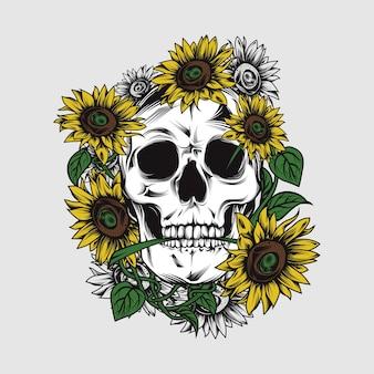Schädel mit sonnenblume