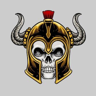 Schädel mit spartanischem helm