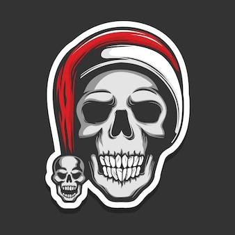 Schädel mit weihnachtsmannmütze