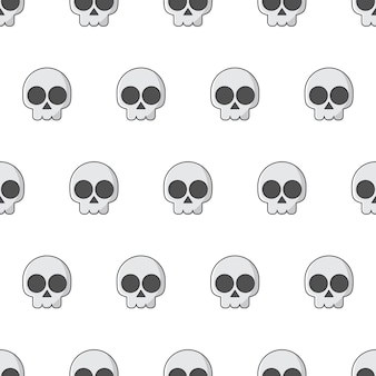 Schädel nahtloses muster auf einem weißen hintergrund. piraten-emblem-thema-vektor-illustration