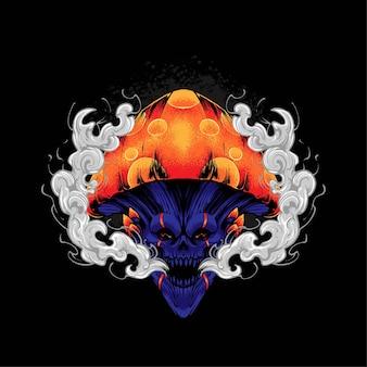 Schädel-pilz-illustration, perfekt für t-shirt, bekleidung oder merchandise-design