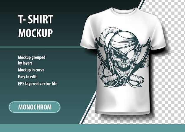 Schädel pirat. t-shirt vorlage, voll editierbar.