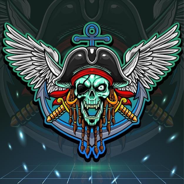 Schädel-piraten-maskottchen. esport logo design