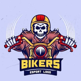 Schädel-radfahrer esport logo design