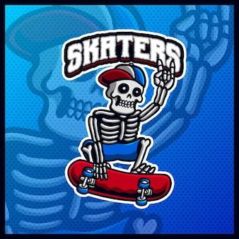 Schädel reiten skateboard maskottchen esport logo design illustrationen vektorvorlage, skater logo für team game streamer youtuber banner twitch discord, vollfarb-cartoon-stil