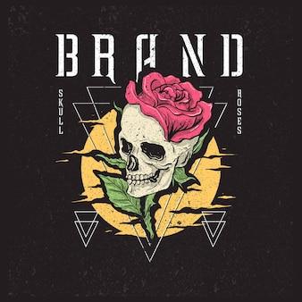 Schädel rosen illustration mix mit geometrischen linien dreieck mit grunge texturen