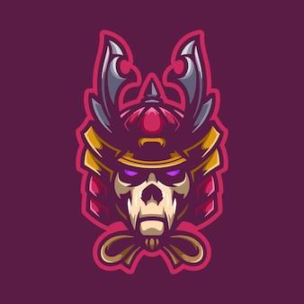 Schädel samurai logo maskottchen
