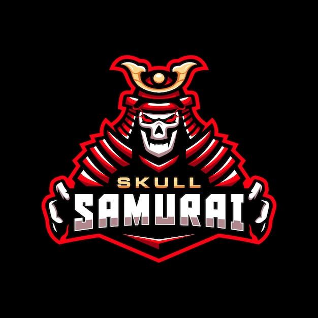 Schädel samurai maskottchen logo