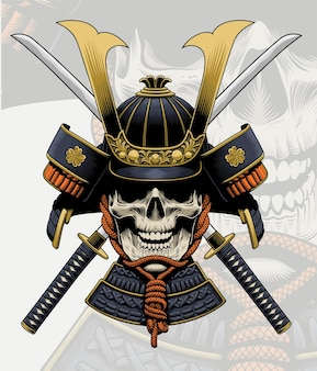 Schädel samurai mit abnehmbaren katana schwertern