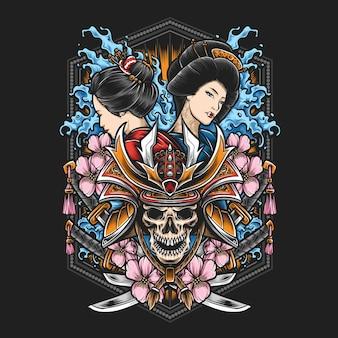 Schädel-samurai mit geisha-illustration