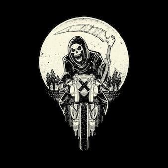 Schädel sensenmann fahren motorrad illustration