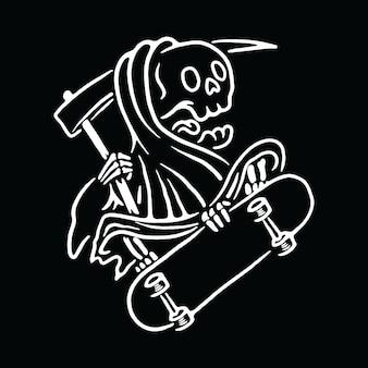 Schädel-sensenmann-liebes-skateboard-illustration