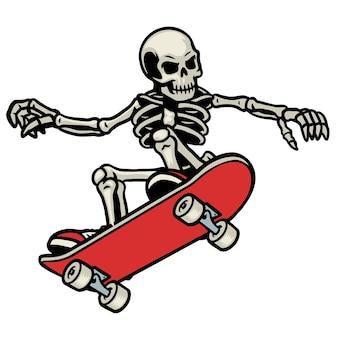 Schädel-skateboarding macht den ollie-trick