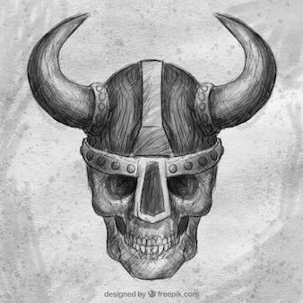 Schädel-skizze hintergrund mit wikingerhelm