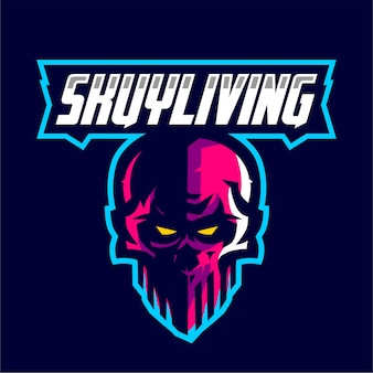 Schädel skuyliving maskottchen gaming-logo