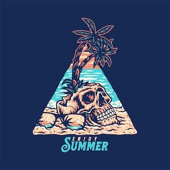 Schädel-sommerstrand-t-shirt grafikdesign, handgezeichnete linie mit digitaler farbe, vektorillustration