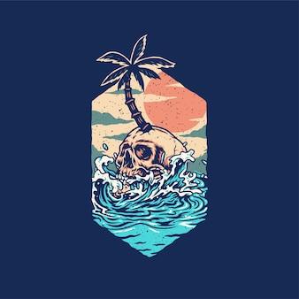 Schädel-sommerstrand-t-shirt grafikdesign, lokalisiert auf dunklem hintergrund