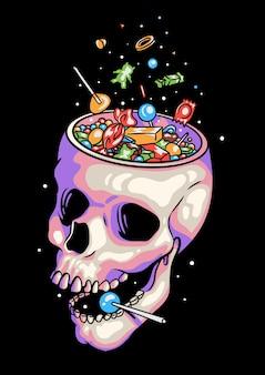 Schädel-süßigkeit-halloween-illustration