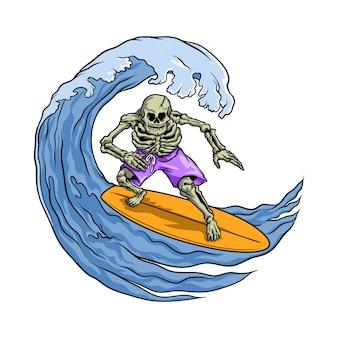 Schädel surft in der welle