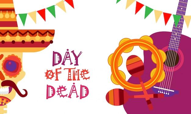 Schädel-tag des toten konzept-traditionellen mexikanischen feiertags-party-dekorations-fahnen-einladung dia de los muertos
