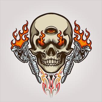 Schädel tattoo maskottchen illustration