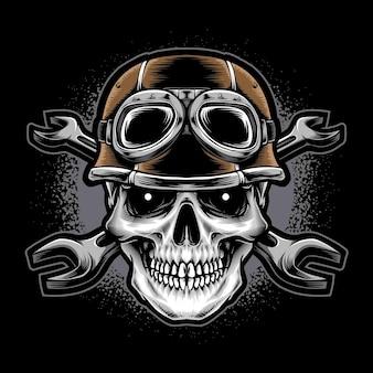 Schädel trägt helm mit schraubenschlüssel