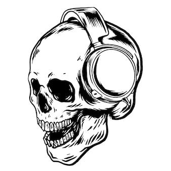 Schädel tragende kopfhörerillustration schwarzweiss