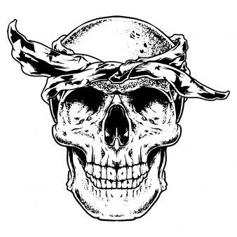 Schädel trendige gravur illustration