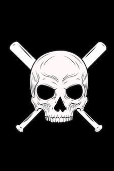 Schädel und baseballschläger-vektor-illustration