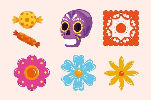 Schädel und blumen der mexikanischen süßigkeiten