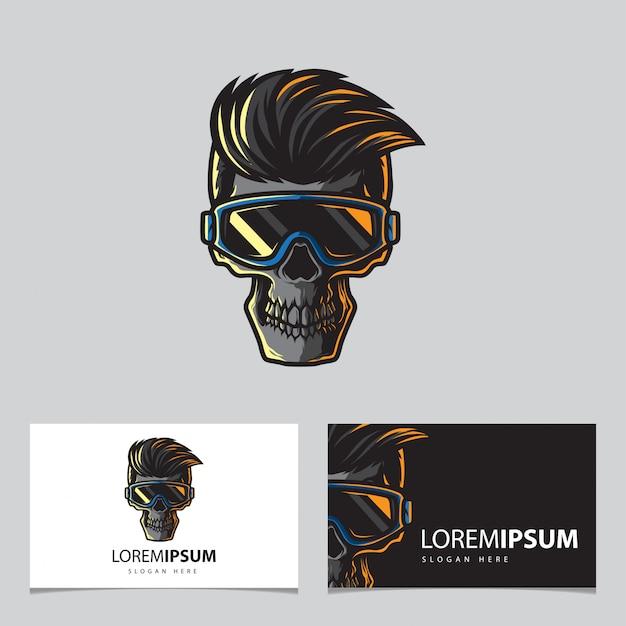 Schädel und brille logo vorlage