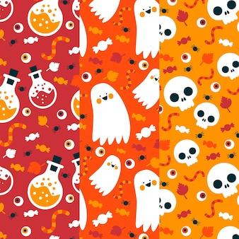Schädel und geister halloween-muster