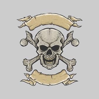 Schädel und gekreuzte knochen mit bandbannern oben und unten