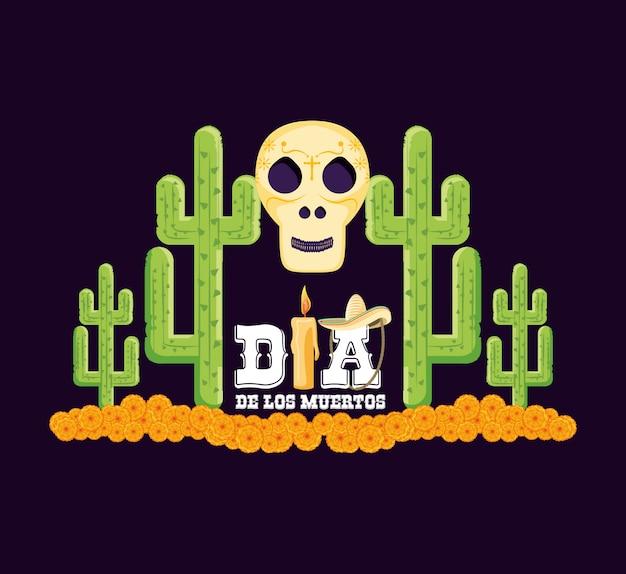 Schädel- und kaktustag der toten karte