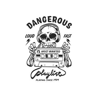 Schädel und kassette mit retro-stil für logo- und illustrationsdesign